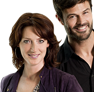 NCRV-presentatrice Ghislaine Plag en KRO-presentator Arie Boomsma.